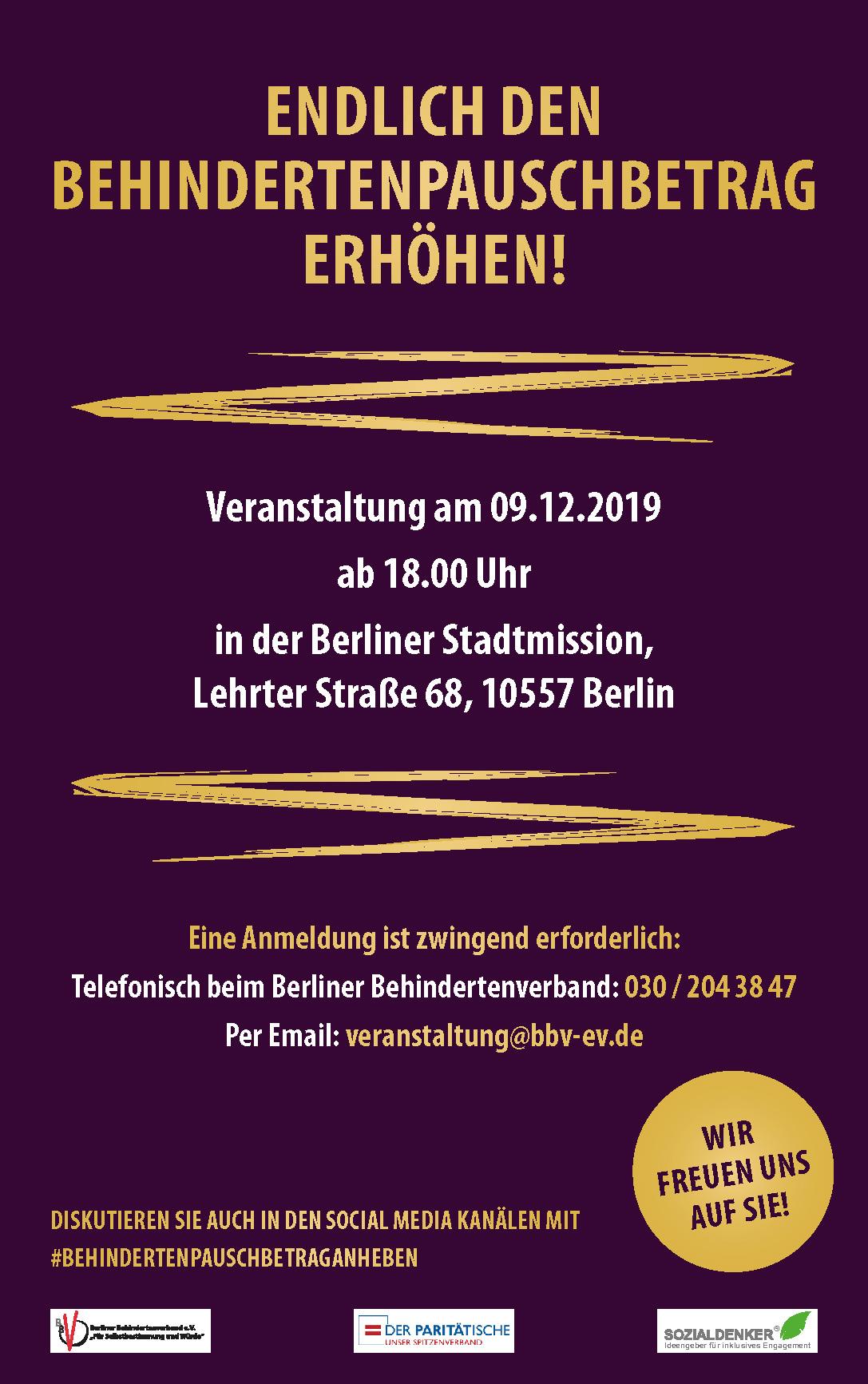 Veranstaltung zum Pauschbetrag am 09.12.2019