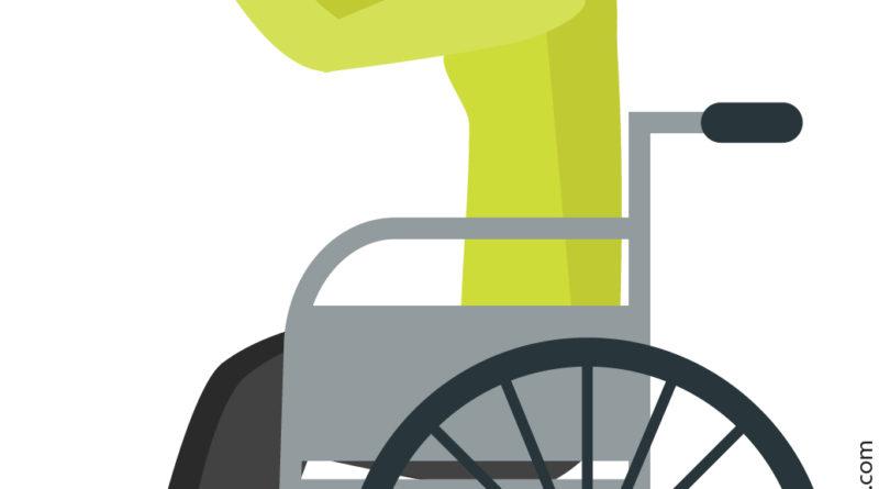 Grafik einer Rollstuhlfahrreerin beim Fitnessprogramm.