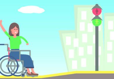 Illustration einer Rollstuhlfahrerin vor einem abgesenkten Bordstein.