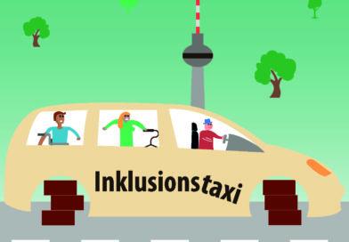 Illustration eines Inklusionstaxis ohne Räder auf einer Berliner Straße.