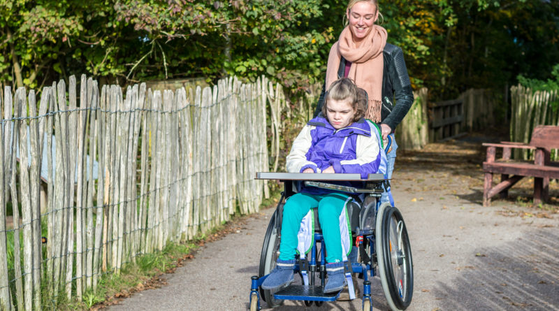 Assistentin schiebt eine Rollstuhlfahrerin.