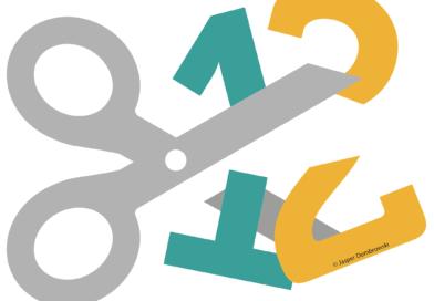 Grafik: Die Zahl 12 wird von einer Schere zerteilt.