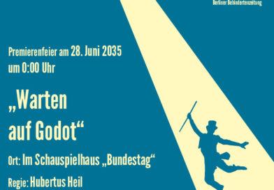 """Abgewandeltes Theaterplakat """"Warten auf Godot""""."""
