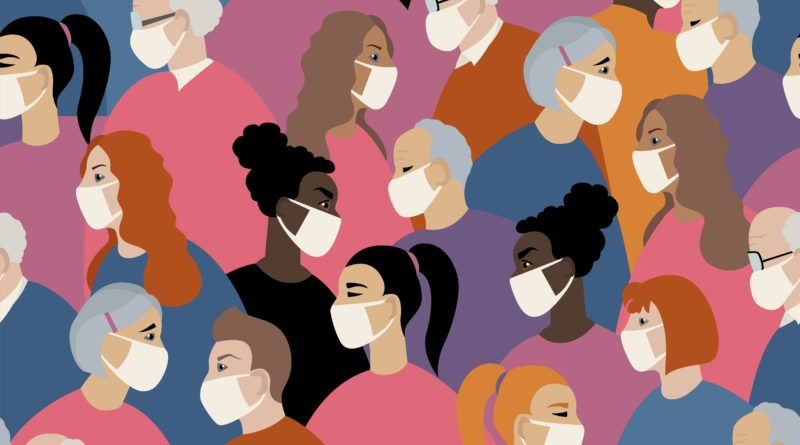 Grafische Darstellung von Menschen mit Mund-Nasen-Schuttz
