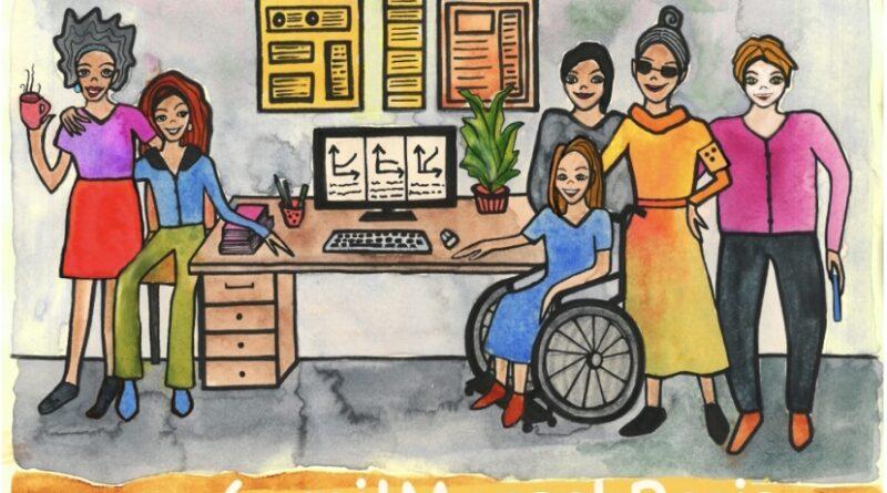 Bunte Illustration von Menschen mit und ohne Behinderungen.
